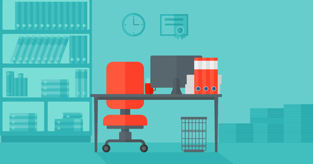 Background of business office with computer, table, chair and bookcases vector flat design illustration. Horizontal layout. 版權商用圖片 - 52288750