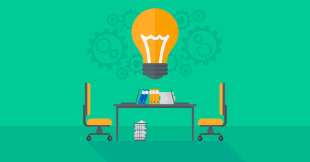 designer chair: Background of business office with idea light bulb and gears over the table  vector flat design illustration. Horizontal layout.