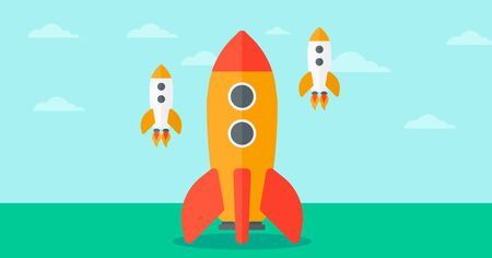 Background of business start-up rockets vector flat design illustration. Horizontal layout. Stock fotó - 52288766