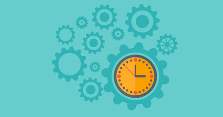 cartoon clock: Cogwheels and clock mechanism isolated on a blue background vector flat design illustration. Horizontal layout. Illustration