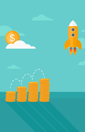 stock market launch: Background of start up rocket idea and golden stacks vector flat design illustration. Vrtical layout.