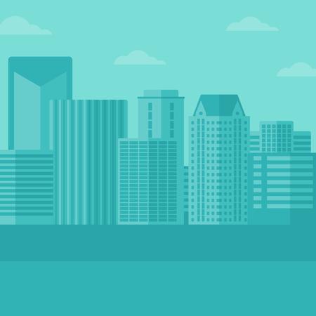 headquarter: Background of modern city vector flat design illustration. Square layout.
