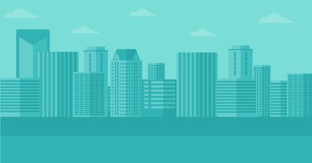 clouds scape: Background of modern city vector flat design illustration. Horizontal layout. Illustration