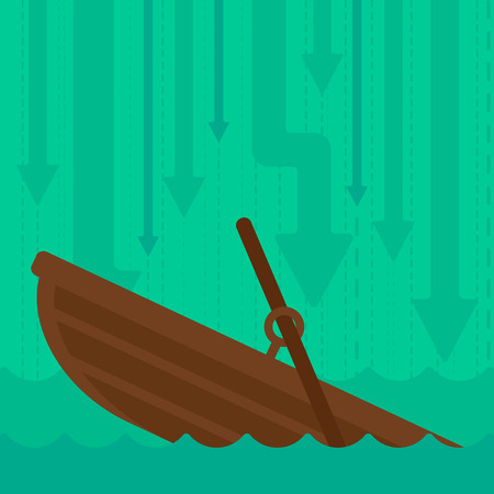 moving down: Background of sinking boat and arrows moving down vector flat design illustration. Square layout.