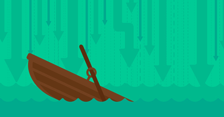 afloat: Background of sinking boat and arrows moving down vector flat design illustration. Horizontal layout. Illustration