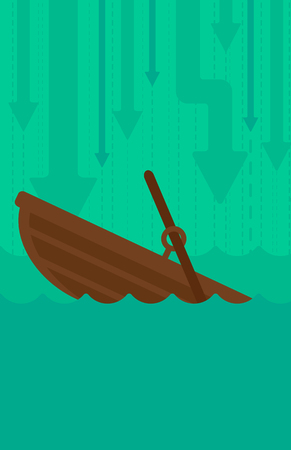 moving down: Background of sinking boat and arrows moving down vector flat design illustration. Vertical layout.