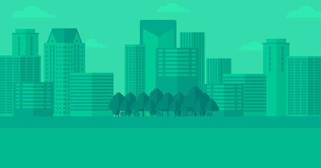 condo: Background of modern city vector flat design illustration. Horizontal  layout.