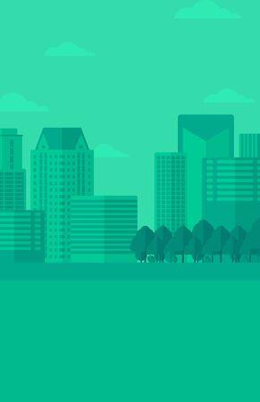 headquarters: Background of modern city vector flat design illustration. Vertical layout.