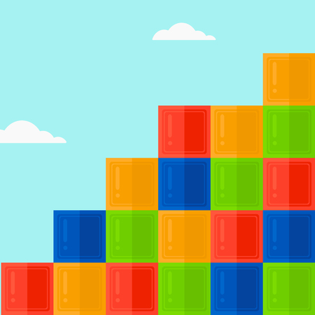 Background of colorful cubes on blue sky vector flat design illustration. Square layout.