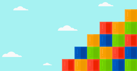Background of colorful cubes on blue sky vector flat design illustration. Horizontal layout.