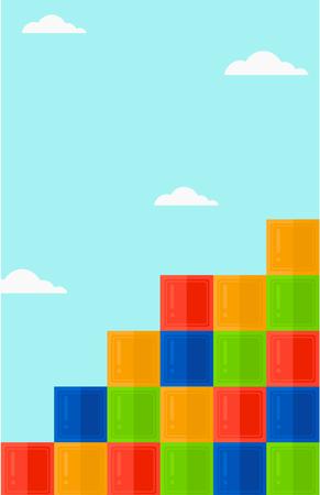 Background of colorful cubes on blue sky vector flat design illustration. Vertical layout. Иллюстрация