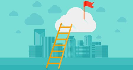 condo: A ladder and a red flag on top of the cloud on a city background vector flat design illustration. Horizontal layout. Illustration