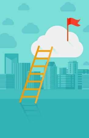 A ladder and a red flag on top of the cloud on a city background vector flat design illustration. Vertical layout. 矢量图像