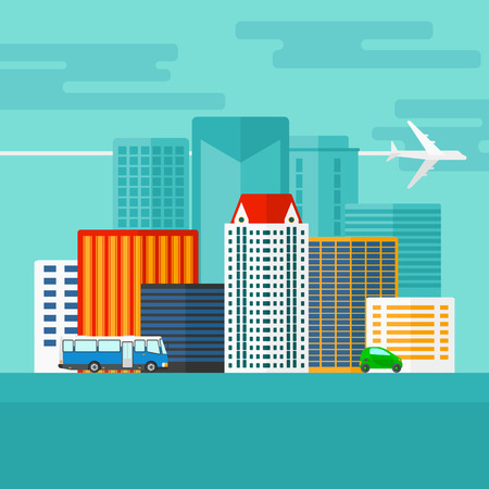 car on the road: Background of modern city with transport vector flat design illustration. Square layout.
