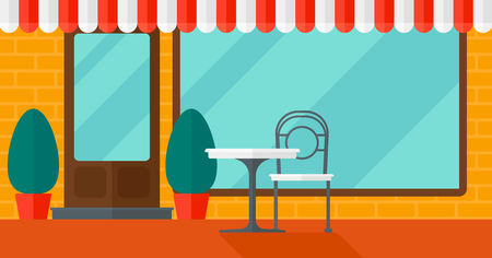 patio furniture: Background of street cafe with table and chair vector flat design illustration. Horizontal layout.