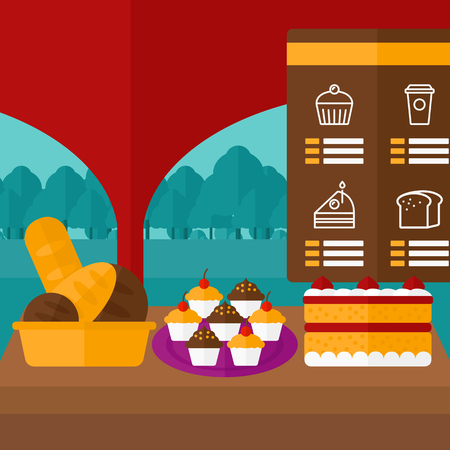 bakery products: Background of bakery with table full of bread and pastries vector flat design illustration. Square layout.