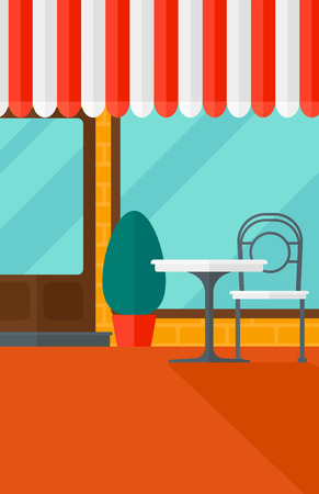 patio furniture: Background of street cafe with table and chair vector flat design illustration. Vertical layout. Illustration