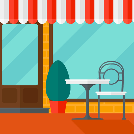 porch chair: Background of street cafe with table and chair vector flat design illustration. Square layout. Illustration