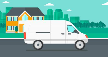Background of the city with delivery truck vector flat design illustration. Horizontal layout.