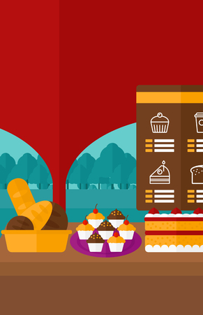 bakery products: Background of bakery with table full of bread and pastries vector flat design illustration. Vertical layout.