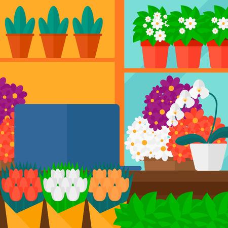 Achtergrond van de bloemenwinkel vector platte ontwerp illustratie. Vierkante lay-out.