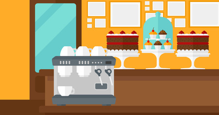 bakery products: Background of bakery with pastry and coffee maker vector flat design illustration. Horizontal layout.