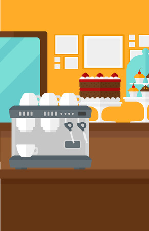 Background of bakery with pastry and coffee maker vector flat design illustration. Vertical layout. Ilustracja