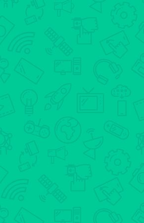 wireless signal: Green background with technology icons vector flat design illustration. Vertical layout. Illustration