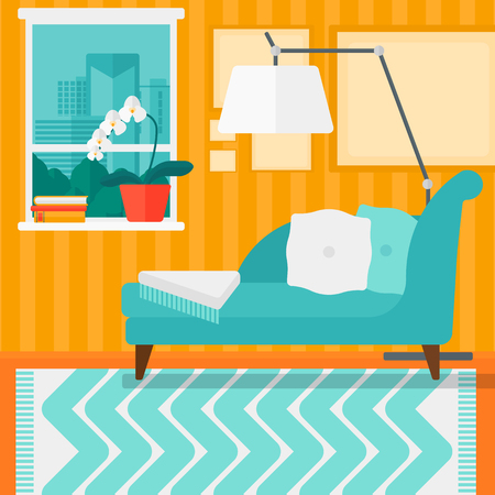 divan: Background of living room with city view vector flat design illustration. Square layout.
