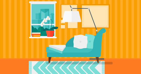 Background of living room with city view vector flat design illustration. Horizontal layout. Illustration
