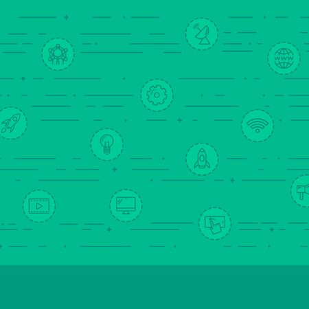 world receiver: Green background with business and technology icons vector flat design illustration. Square layout. Illustration