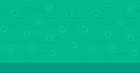 world receiver: Green background with business and technology icons vector flat design illustration. Horizontal layout.