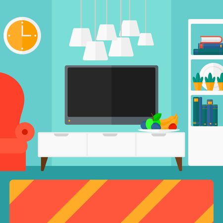 chair cartoon: Background of modern  living room vector flat design illustration. Square layout.