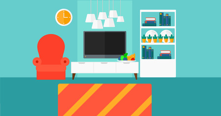 condo: Background of modern  living room vector flat design illustration. Horizontal layout.