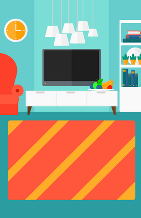 divan: Background of modern  living room vector flat design illustration. Vertical layout.