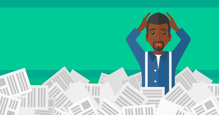 An african-american man clutching his head because of having a lot of work to do with a heap of newspapers in front of him vector flat design illustration isolated on light green background. Horizontal layout. Illustration