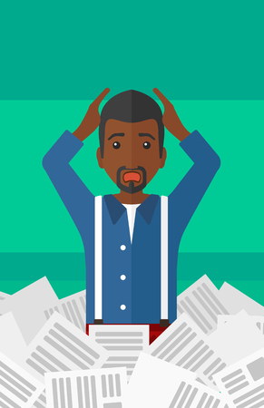 pile of newspapers: An african-american man clutching his head because of having a lot of work to do with a heap of newspapers in front of him vector flat design illustration isolated on light green background. Vertical layout. Illustration