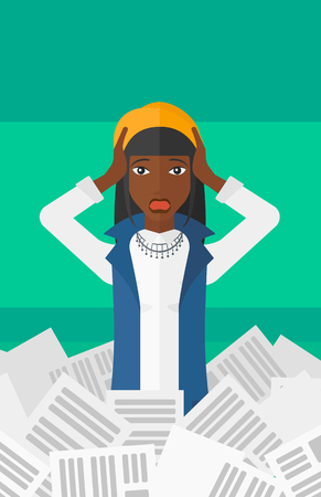 pile of newspapers: An african-american stressed woman clutching her head because of having a lot of work to do with a heap of newspapers in front of her vector flat design illustration isolated on light green background. Vertical layout.