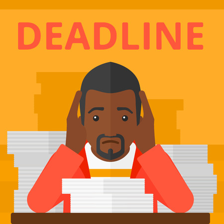 file clerk: An african-american man sitting at the table with stacks of papers and having problem with deadline vector flat design illustration isolated on yellow background. Square layout. Illustration