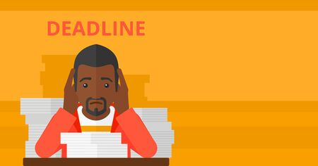An african-american man sitting at the table with stacks of papers and having problem with deadline vector flat design illustration isolated on yellow background. Horizontal layout.