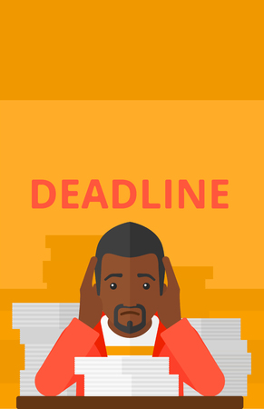 file clerk: An african-american man sitting at the table with stacks of papers and having problem with deadline vector flat design illustration isolated on yellow background. Vertical layout. Illustration