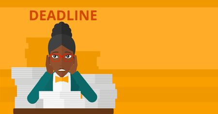 file clerk: An african-american woman sitting at the table with stacks of papers and having problem with deadline vector flat design illustration isolated on yellow background. Horizontal layout.