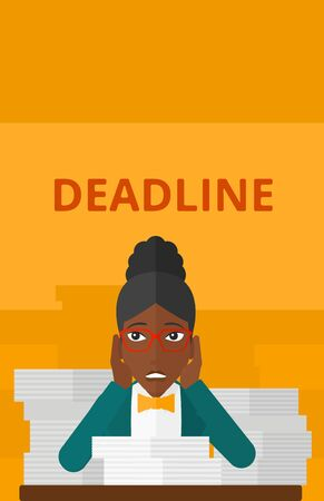 file clerk: An african-american woman sitting at the table with stacks of papers and having problem with deadline vector flat design illustration isolated on yellow background. Vertical layout.