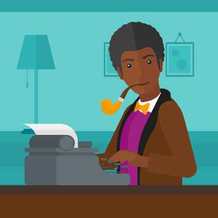 article writing: An african-american man writing an article on typewriter and smoking pipe on the background of room vector flat design illustration. Square layout.