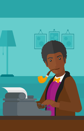 An african-american man writing an article on typewriter and smoking pipe on the background of room vector flat design illustration. Vertical layout.