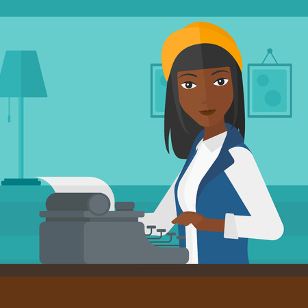 An african-american woman writing an article on typewriter on the background of room vector flat design illustration. Square layout. Illustration