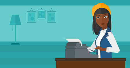 article writing: An african-american woman writing an article on typewriter on the background of room vector flat design illustration. Horizontal layout.