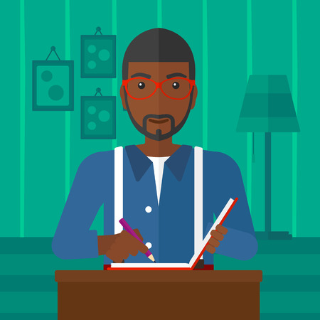 article writing: An african-american man sitting at the table and writing an article in writing-pad on the background of room vector flat design illustration. Square layout.