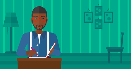 writer: An african-american man sitting at the table and writing an article in writing-pad on the background of room vector flat design illustration. Horizontal layout. Illustration