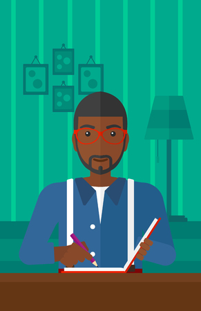 article: An african-american man sitting at the table and writing an article in writing-pad on the background of room vector flat design illustration. Vertical layout. Illustration